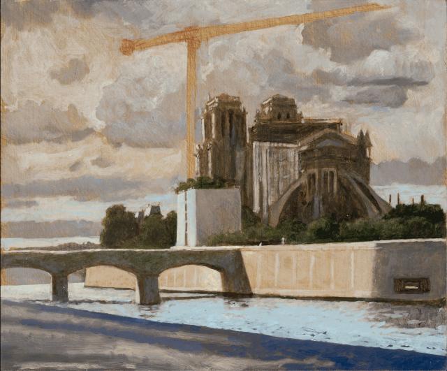 Charles-Élie Delprat, Notre-Dame depuis le quai Montebello, fin de journée, 2020