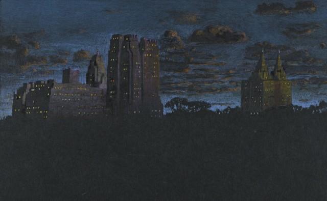 Jean-Baptiste Sécheret, série 'Central Park, soir' #2 - Bleus, 2008-2020