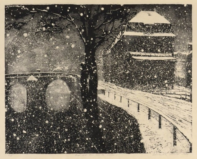 Jean-Baptiste Sécheret, Quai de l'Oise sous la neige, 2016