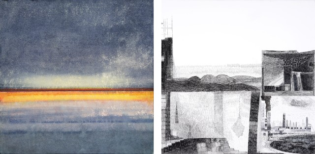 EP. End of storm, 2015. Aquarelle sur papier marouflé sur toile. GS. Fenêtres (détail), 2014. Encre noire et plume sur papier.