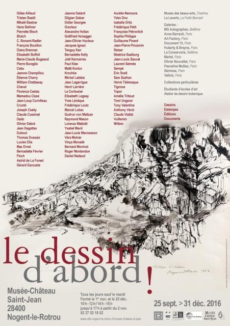 """Affiche de l'exposition """"Le dessin d'abord"""" / Jusqu'au 31 décembre 2016 au Musée-Château de Nogent-le-Rotrou"""