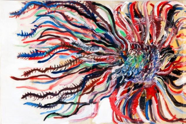 Agnès Lévy - Extrait du carnet à plis n°4, 2010. Huile sur papier, 24 x 36 cm.