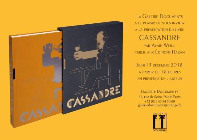 """Publication du livre """"Cassandre"""" par Alain Weill et exposition d'affiches"""