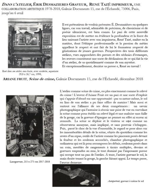 Ariane Fruit, Scène de crime • Dans l'atelier, Érik Desmazières • Galerie Documents 15