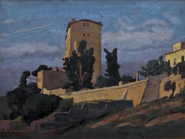 Tarragone, 2002-2005, aquarelle gouachée sur papier préparé, 45 x 59 cm