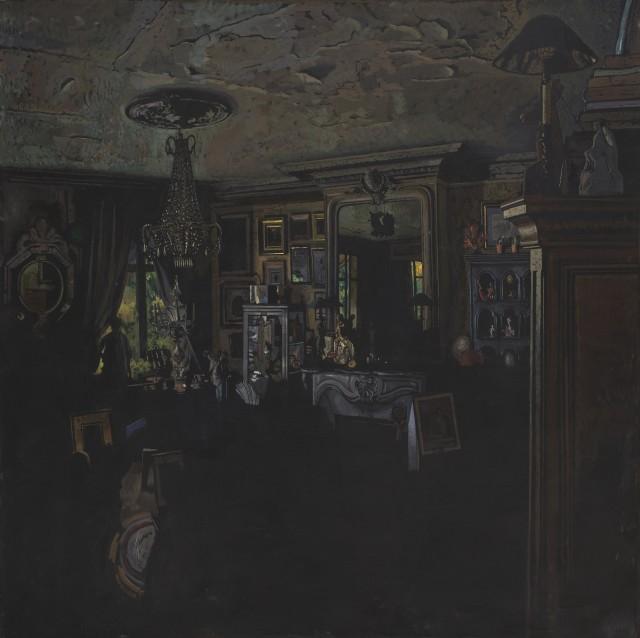 Jean-Baptiste SÉCHERET - Appartement rue Condorcet, 2019. Colle et pigments sur papier marouflé sur toile, 122 x 122 cm (état...
