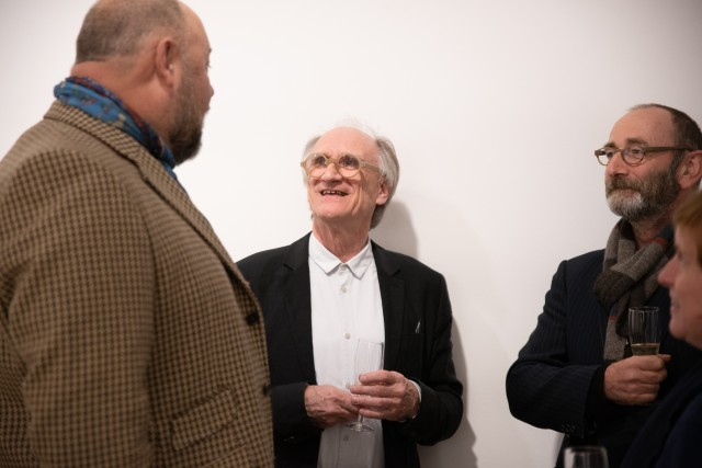 Michael Rowe and Felix Flury talking to Paul Hedge from Hales Gallery. photography by Stefano Padoan