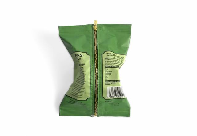 Kathleen Reilly Salt & Vinegar , 2018 Crisp Packet & Sewn in Zip 15 x 12 x 4cm Photo: Kathleen...