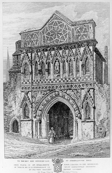 Ethelbert Gateway, Norwich, etched by John Sell Cotman in 1817. Gerard's school art room was above the arch.