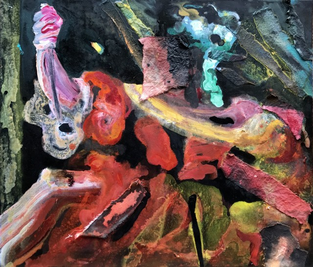 Cathy Hayes, Phoebe's Hand ( after Rubens), 183 x 183cm, mixed media on canvas