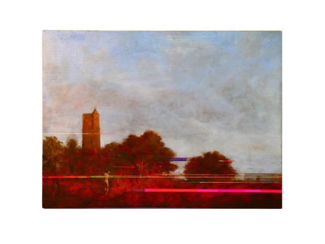 Sean Molloy, Per CS, oil Sgraffito & ink on panel, 25 x 35m