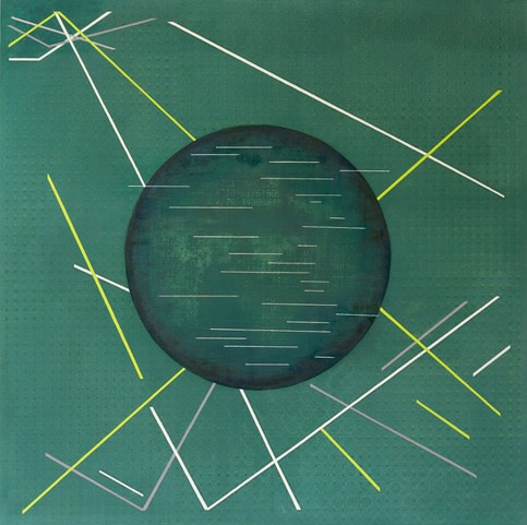 Elva Mulchrone, Absinthe oil and silkscreen on linen, 150 x 150cm