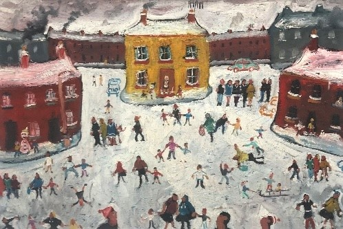 Simeon Stafford, Yellow House and Red Terraces in the Snow