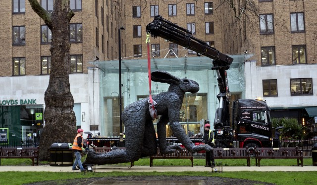 'Crawling' by Sophie Ryder at Berkeley Square , Monumental and Maquette available. All images courtesy of Sean Pollock.