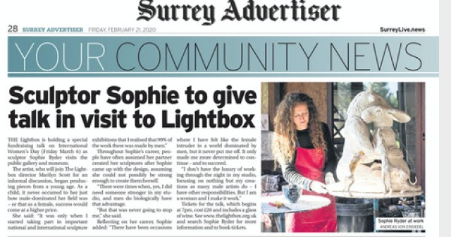 Sculptor Sophie to give talk in visit to Lightbox