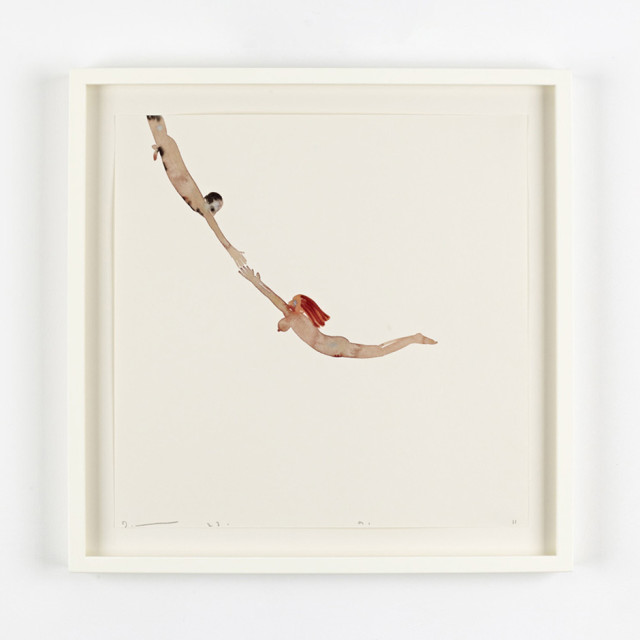 David Austen Flying man and woman (trapeze) 23.9.11 watercolour on Hahnemühle paper 30 x 30 cm (paper size)