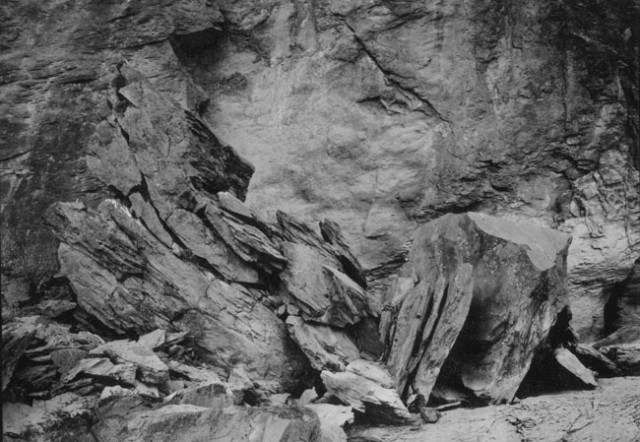 Broken Boulder in the Late Afternoon Sun (Remembering Timothy O'Sullivan) Along the Snake River, Pillar Falls Canyon, Jerome Co. Idaho, USA 2003-2004 silver gelatin print, hand toned & printed by the artist in an edition of 3 43cm x 60cm (image size)