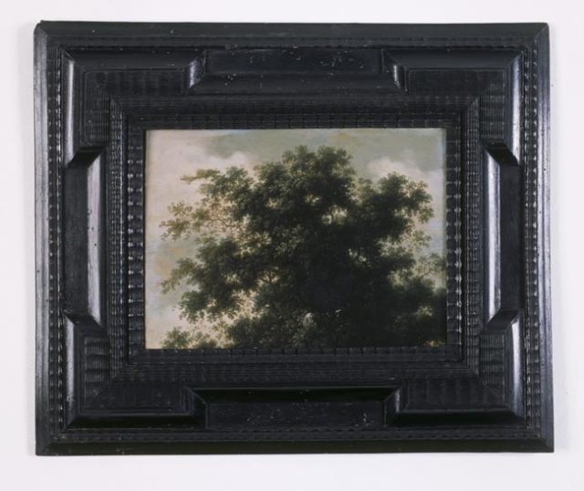 Study of a Tree (The Wolf's Belly) Late 17th Century Dutch School / 2006 3 Parts: oil on copper painting (in box frame); and two text panels (framed)