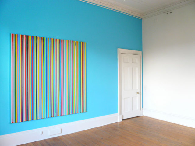 Poured Lines: The Simpsons 2008 water-based paints on aluminium 200 x 200 cm