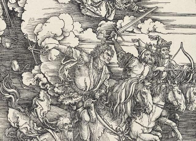 Albrecht Dürer The Four Horsemen of the Apocalypse (detail), 1498 woodcut from The Apocalypse