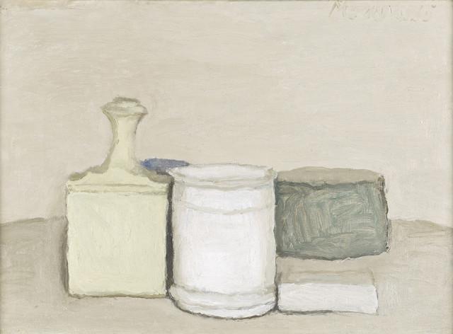 """Giorgio Morandi (1890 -€"""" 1964) Natura Morta, 1953 oil on canvas 33.5 x 43 cm Private collection"""