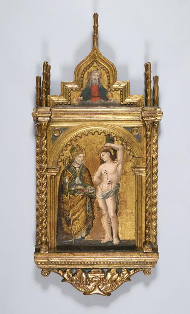 gilt altarpiece depicting Saint Sebastian 15th century 95 x 45 x 8 cm private collection