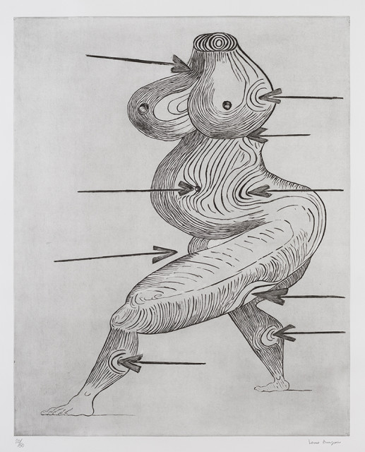 Louise Bourgeois Sainte Sébastienne 1992 Drypoint on Somerset Satin paper, edition of 50 120.5 x 94.3 cm (paper size)