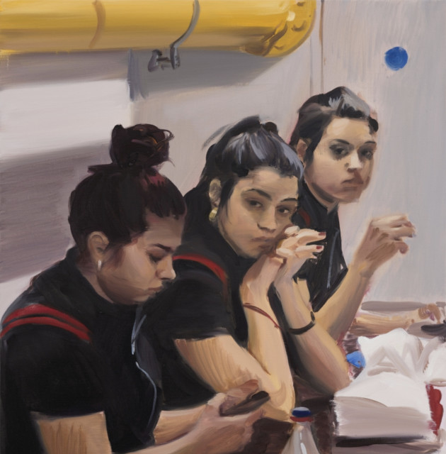 (detail) Caroline Walker, 'Three Maids', 2018, oil on linen. Private Collection.