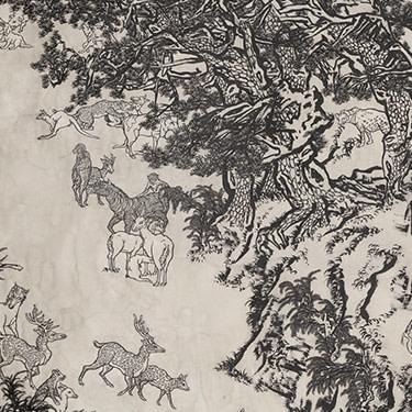 十一日谈系列:白描芥子园(局部),2009-2014,墨、矿物彩,绢本(裱于布面),8屏