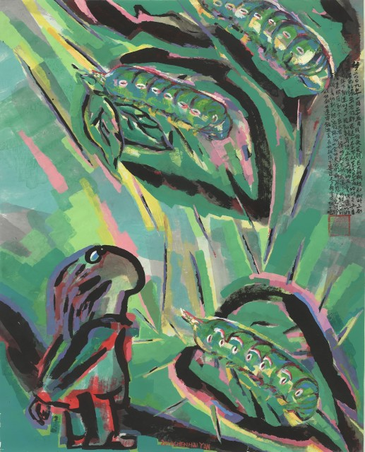 Chen Haiyan, Giant Green Worms, 2014, Ink and color on xuan paper, 183 x 144 cm