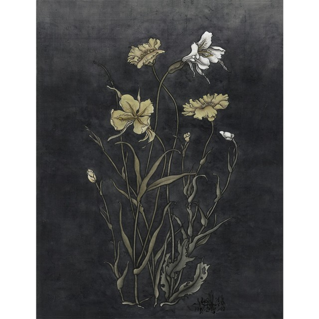 Yang Jiechang, These are still Flowers 1913-2013 No. 8, 2013, Ink and mineral pigments on silk, mounted on canvas, 90 x 70 cm