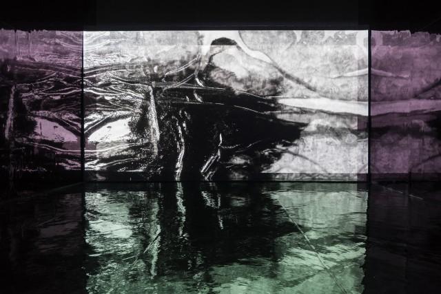 Zheng Chongbin, Chimeric Landscape, 2015, environmental video installation, 17 minutes, detail of installation. Photographer: Ela Bialkowski/OKNO studio. 郑重宾,《运行中的异化之境》,2015,环境影像装置,17分钟,空间图。摄影师:Ela Bialkowski/OKNO studio。