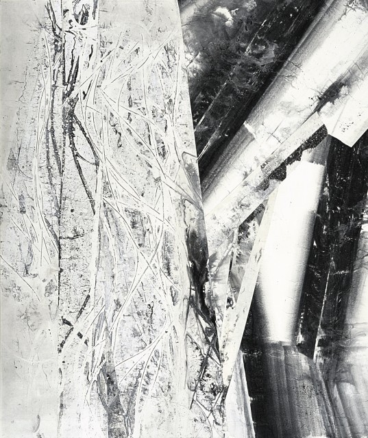 Zheng Chongbin 郑重宾 Partially Exposed Structure 显露的结构, 2015 Signed Ink and acrylic on xuan paper 墨 丙烯 宣纸 77 1/2 x 65 3/8 in 197 x 166 cm