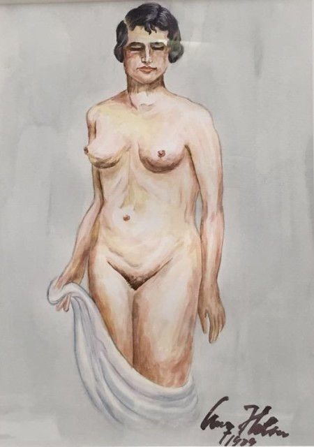 These are still nude paintings - copies of life drawings by Adolf Hitler No.1 2015 Watercolor and drawing 27.5 x...