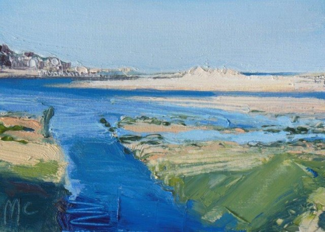 Blue inlets and shadow to the harbour, Lossiemouth