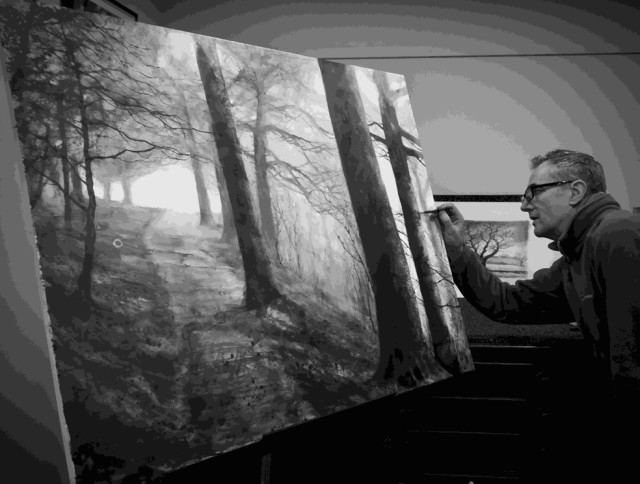 Artist working on Hilltop path