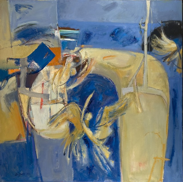 Donald Buyers RSW (1930 - 2002) Blue composition, 48 x 48 in Signed & dated 1969