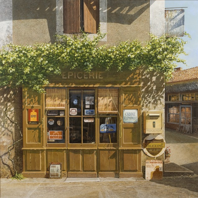 Peter Evans: Shop at St Sulpice nr Riberac, Dordogne Acrylic 36 x 36 in