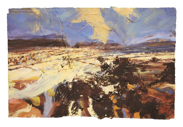 Above Settle, Mixed media on paper, 41 x 61 cm / 16 x 24 in (image size)
