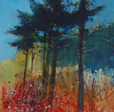 Haldon Pines, mixed media 21 x 22 cm