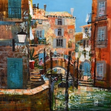 Summer sunshine, Venice, mixed media on canvas, 60 x 60 cm