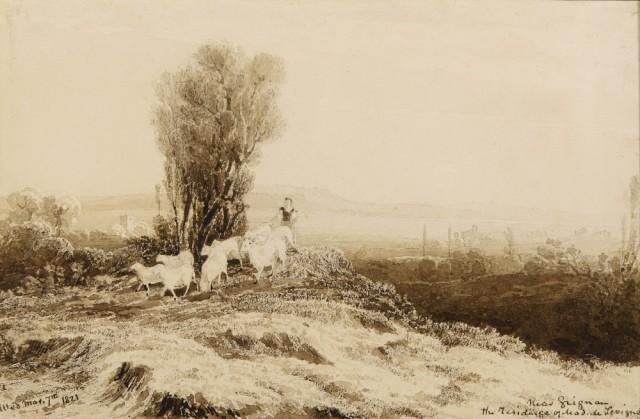 John Martin 'Near Grignan - The residence of Mad.de Sevigne'