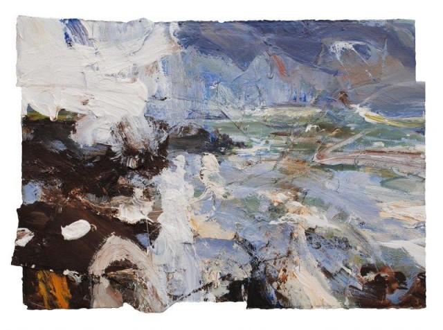 A Wet Day (Walking at Caerfai), Mixed media, 60 x 85 cm/ 33.5 x 33.5 ins