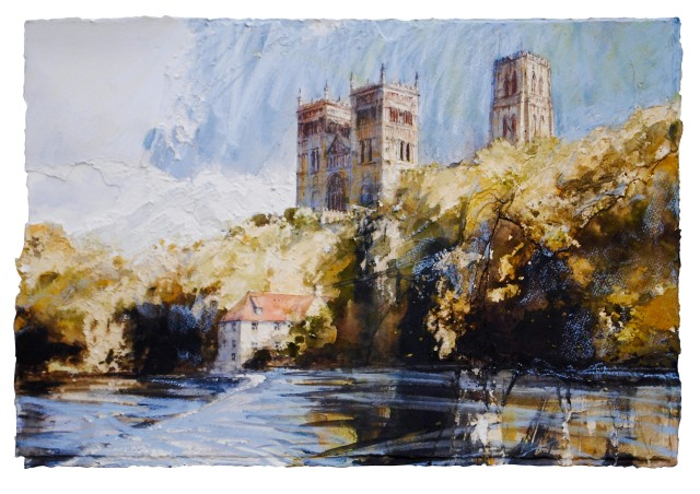 Durham, W/c & mixed media on paper 39 x 58 cm