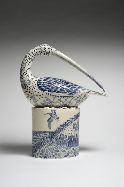 The Shell Collector, stoneware glazed with hand painted detail, 17.75 x 14.17 x 5.5ins (45 x 36 x 14cm)