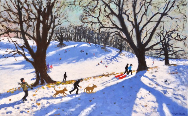 Christmas, Calke Abbey, oil on linen, 30 x 48ins (76.2 x 121.9cm), by Andrew Macara