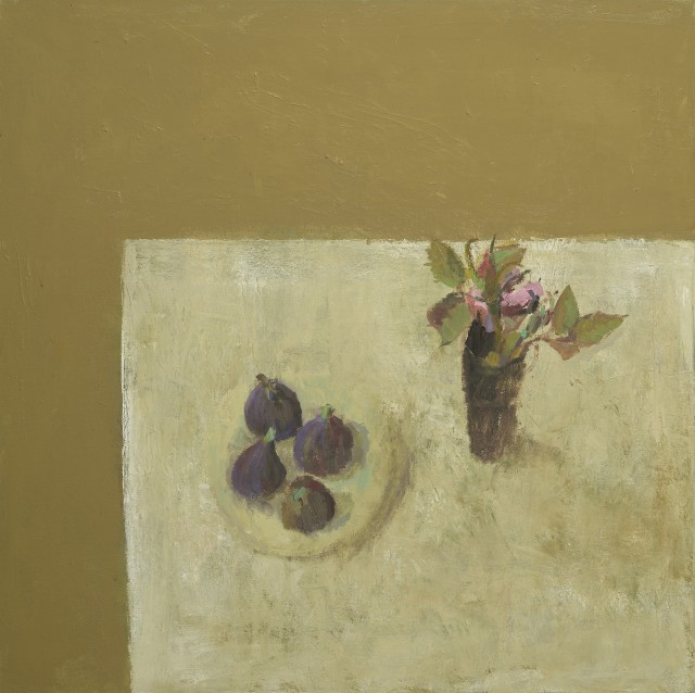 Rose with Figs, oil on linen, 23.6 x 23.6ins (60 x 60cm), by Nicholas Turner