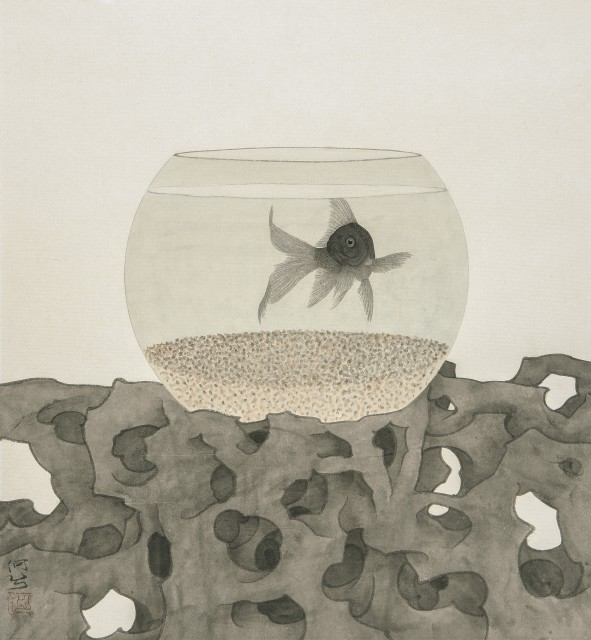 The Fish Being Watched II, ink & Chinese pigments on rice paper, 16.9 x 18.5ins (43 x 47cm), by He Xi