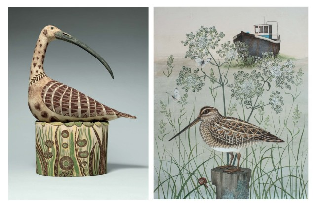 ABOVE: Georgina Warne, Nesting Wader II, high fired earthenware, 18 × 13.4 × 5.9 ins (46 × 34 × 15 cm) (LEFT); Harriet Bane, Snipe, watercolour and acrylic on plaster, 20 × 16 ins (51 × 40.6 cm) (RIGHT)