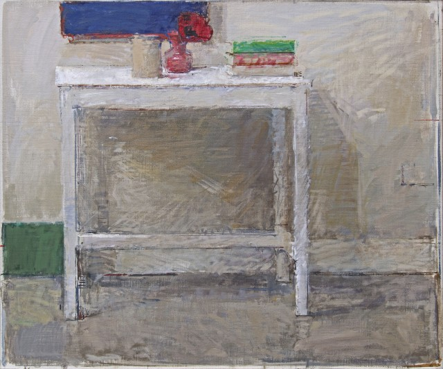 Studio Table, oil on canvas, 31.3 x 37.2ins (79.5 x 94.5cm), by Ben Henriques